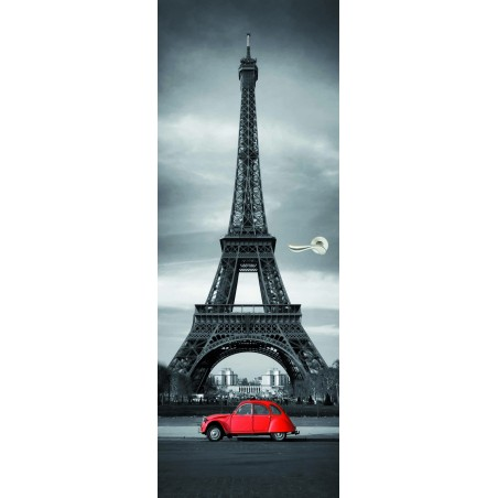 Stickers porte Tour Effeil 2 CV Rouge