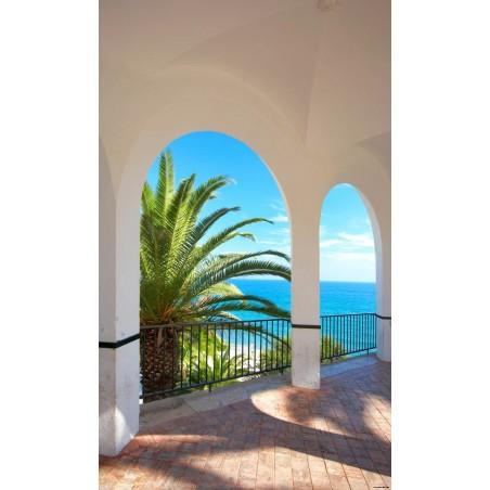 Terrasse à palmier, impression sur papier peint intissé, Imprim'Déco spécialiste du grand format