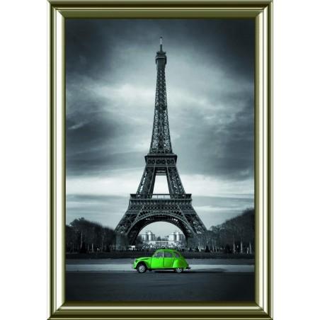 Tableau Tour Effeil 2 CV verte, exclusivité de Imprim'Déco, magasin en ligne spécialisé en déco murale