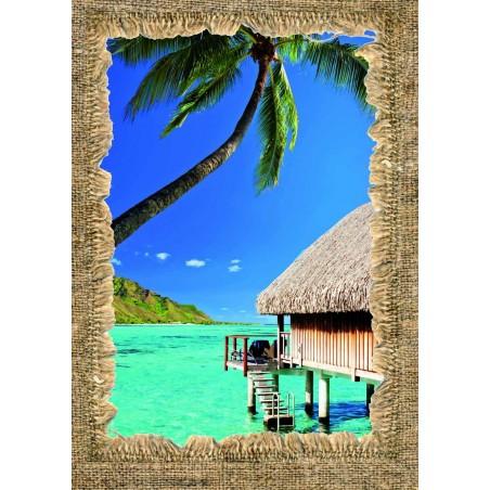 Tableau Bungalow dans un lagon, exclusivité de Imprim'Déco, magasin en ligne spécialisé en déco murale