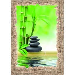 Tableau Bambous et galets noirs au bord de l'eau