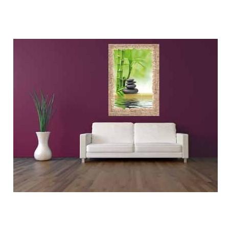 Tableau Bambous et galets noirs au bord de l'eau, exclusivité de Imprim'Déco, magasin en ligne spécialisé en déco murale