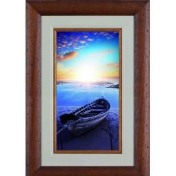 Tableau Barque sur la plage au couché de soleil 2