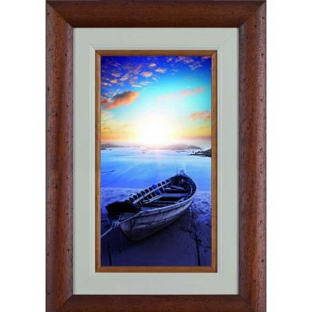Tableau Barque sur la plage au couché de soleil 2, exclusivité de Imprim'Déco, magasin en ligne spécialisé en déco murale