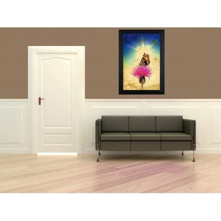 Tableau Papillon sur une fleur, exclusivité de Imprim'Déco, magasin en ligne spécialisé en déco murale
