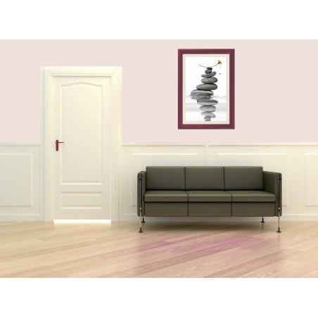 Tableau Pile de galets et fleur 2, exclusivité de Imprim'Déco, magasin en ligne spécialisé en déco murale