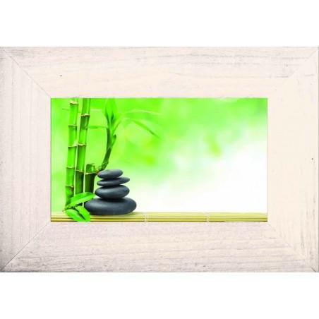 Tableau Pile de galets noirs avec bambous, exclusivité de Imprim'Déco, magasin en ligne spécialisé en déco murale