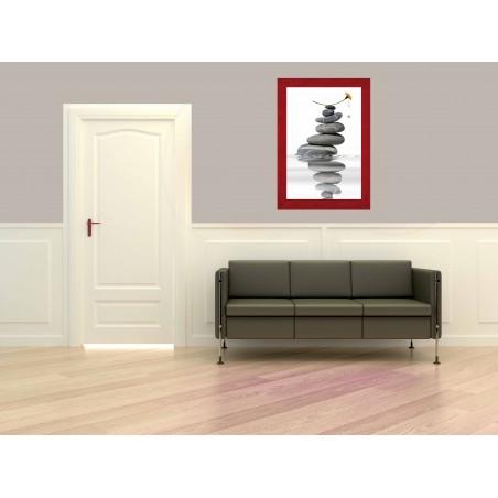 Tableau Pile de galets et fleur 4, exclusivité de Imprim'Déco, magasin en ligne spécialisé en déco murale