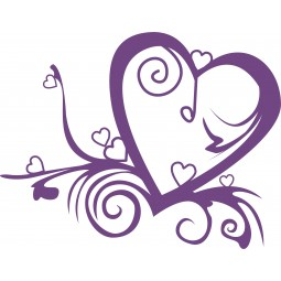 Sticker mural Love et volutes