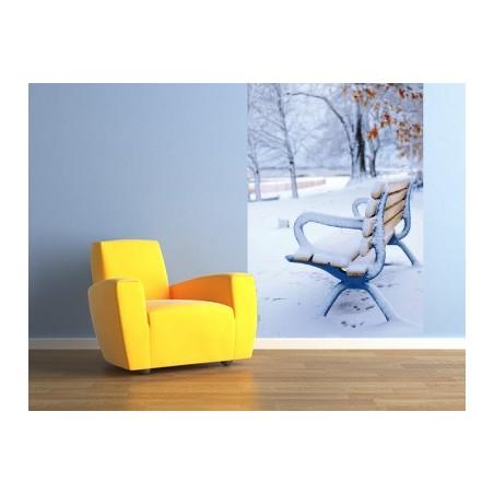 Un banc sous la neige, impression sur papier peint intissé, Imprim'Déco spécialiste du grand format