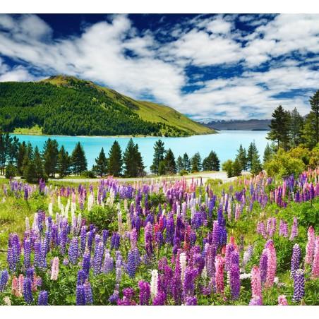Bord de lac fleuri, impression sur papier peint intissé, Imprim'Déco spécialiste du grand format