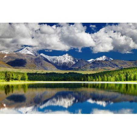 Panoramique de montagnes et reflets, impression sur papier peint intissé, Imprim'Déco spécialiste du grand format