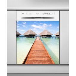 Sticker Lave Vaisselle ponton Tahiti, création Imprim'Déco, magasin vente en ligne stickers de décoration
