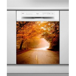 Sticker Lave Vaisselle sous bois en automne, création Imprim'Déco, magasin vente en ligne stickers de décoration