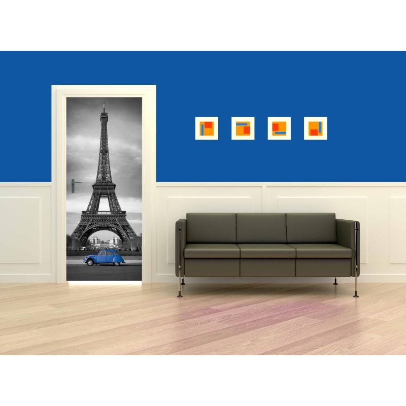 Sticker porte Tour Effeil 2 CV Bleue