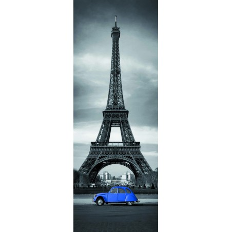 Sticker porte Tour Effeil 2 CV Bleue