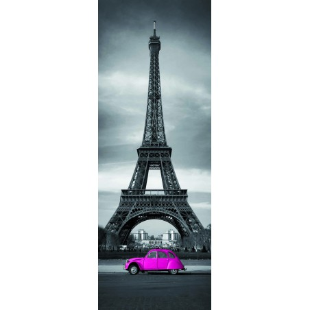 Sticker porte Tour Effeil 2 CV Rose