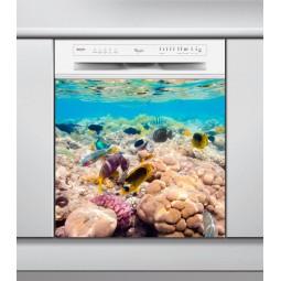 Sticker Lave Vaisselle fond sous marin, création Imprim'Déco, magasin vente en ligne stickers de décoration