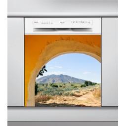 Sticker Lave Vaisselle porche coloré, création Imprim'Déco, magasin vente en ligne stickers de décoration