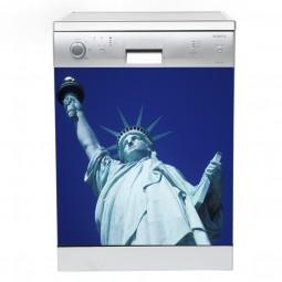 Sticker Lave Vaisselle Statue de la liberté bleu, création Imprim'Déco, magasin vente en ligne stickers de décoration