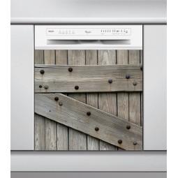 Sticker Lave Vaisselle planche de bois, création Imprim'Déco, magasin vente en ligne stickers de décoration