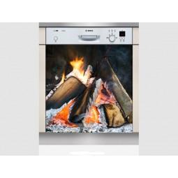 Sticker lave vaisselle feu dans la cheminée