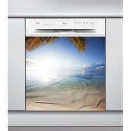 Sticker Lave Vaisselle plage et son palmier, création Imprim'Déco, magasin vente en ligne stickers de décoration