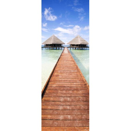 Sticker porte bungalows tropicaux