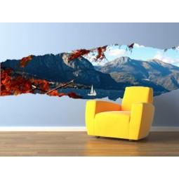 Sticker déchirure paysage montagneux