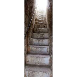 Stickers porte montée d'escalier en pierre