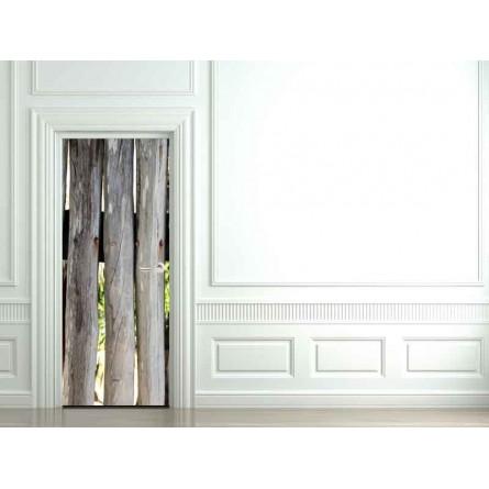 Decoration de porte demi rondin de bois