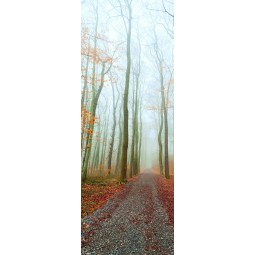 Decoration de porte chemin dans les bois d'automne