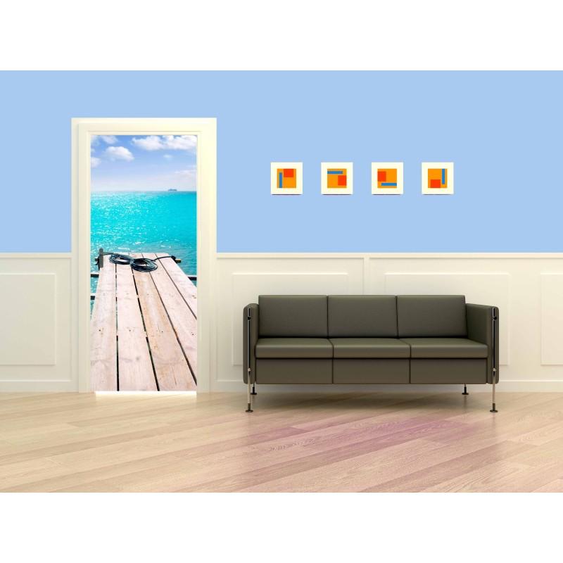 Decoration de porte ponton bois sur mer turquoise