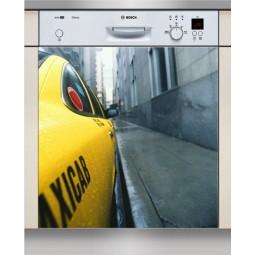 Sticker Lave Vaisselle taxi jaune, création Imprim'Déco, magasin vente en ligne stickers de décoration