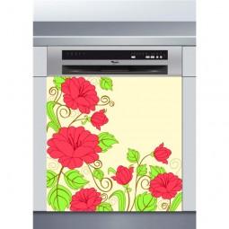 Sticker Lave Vaisselle roses , création Imprim'Déco, magasin vente en ligne stickers de décoration
