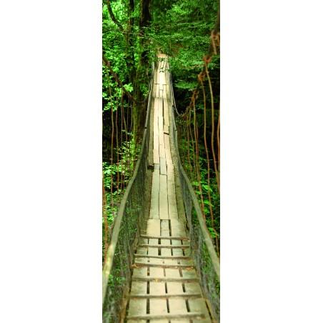 Decoration de porte pont suspendu en bois