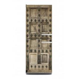 Sticker décor vieille porte en bois