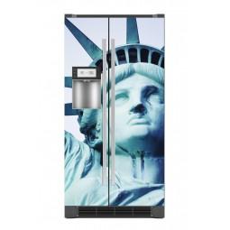 Sticker décor de frigo tête statue de la liberté, exclusivité Imprim'Déco