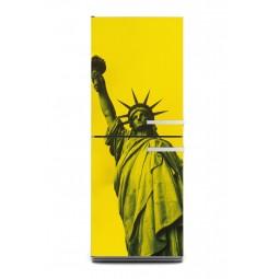 Sticker décor de frigo statue de la liberté jaune, exclusivité Imprim'Déco