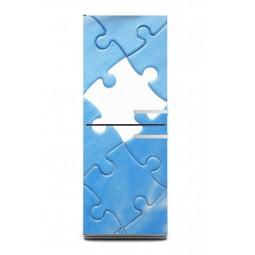 Sticker décor de frigo puzzle bleu, exclusivité Imprim'Déco