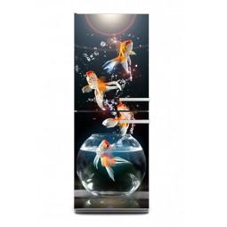 Sticker décor de frigo poissons rouges, exclusivité Imprim'Déco