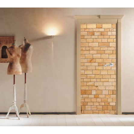Sticker Décor de porte mur de briques