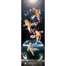 Sticker Décor de porte poissons rouges