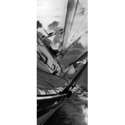 Sticker Décor de porte voilier sur l'eau NB