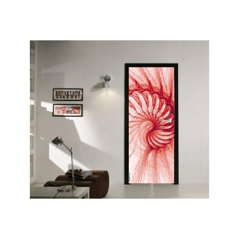 Sticker Décor de porte spirale electrique rouge