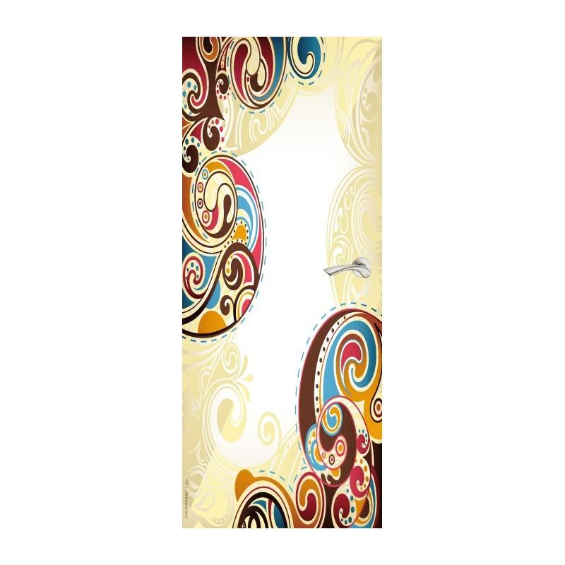 Sticker Décor de porte jean's ornement coloré