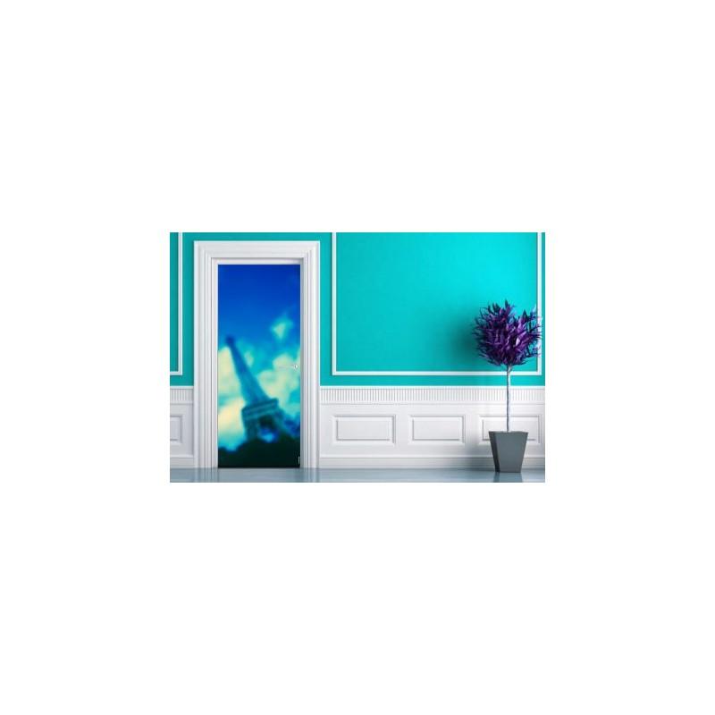 Sticker  de porte tour eiffel bleue