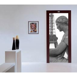 Decoration de porte statue et tour eiffel
