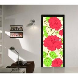 Sticker  de porte fleurs roses