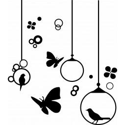 Sticker mural les papillons et oiseaux